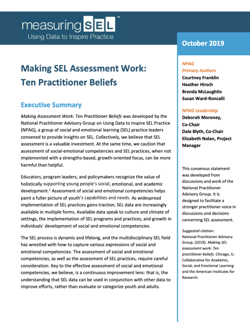 Practitioners Talked; We Listened: Lessons from Building Consensus on Practical SEL Assessment