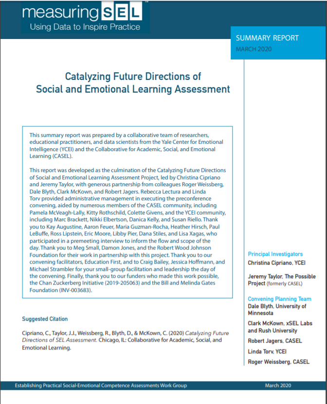 One way SEL assessment can support school community thriving